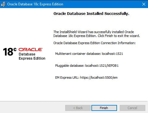 OracleXE18c-Setup-Finish
